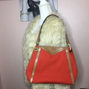 Michael Kors Raven Canvas Tote- Red
